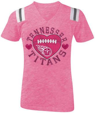 5th & Ocean Tennessee Titans Pink Heart Football T-Shirt, Girls (4-16)