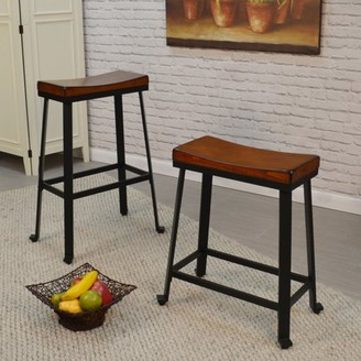 Carolina Chair and Table Oda 24 in. Saddle Seat Backless Counter Stool
