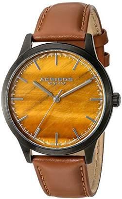 Akribos XXIV Men's Black Case with Tiger Eye Dial on a Cognac Brown Genuine Leather Strap Watch AK937TN