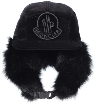 Moncler Fur-lined cotton trapper hat