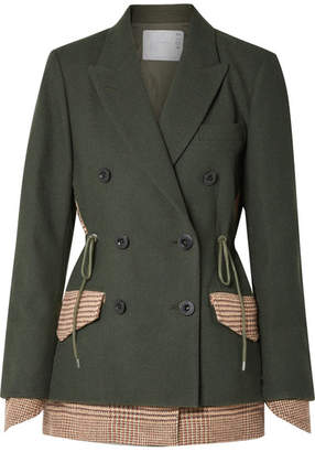 Sacai Piqué And Houndstooth Wool Blazer - Army green