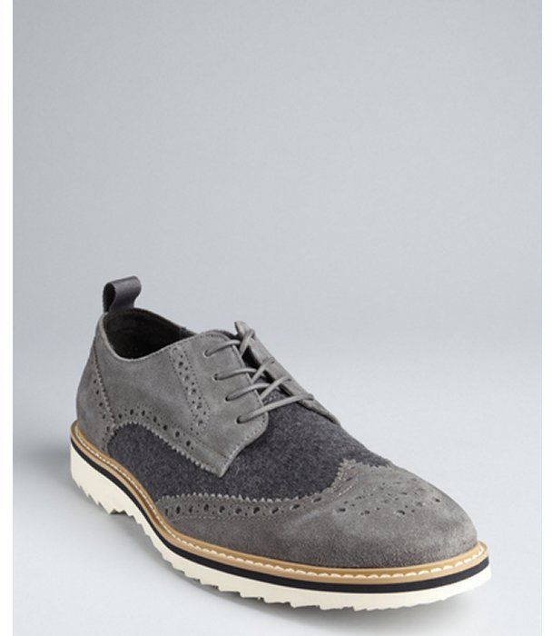 Kenneth Cole Reaction heather bordeaux suede and flannel tooled 'Fever Pitch' oxfords