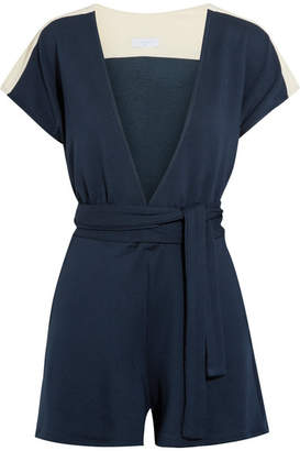 Flagpole - Francine Jersey-trimmed French Terry Playsuit - Storm blue