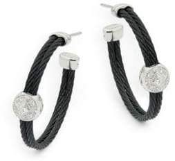 Alor Diamond, 18K White Gold & Stainless Steel Hoop Earrings