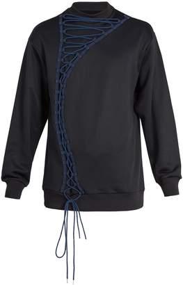 Marques Almeida MARQUES'ALMEIDA Lace-up cotton-blend sweatshirt