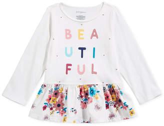 First Impressions Baby Girls Beautiful-Print Cotton Peplum T-Shirt