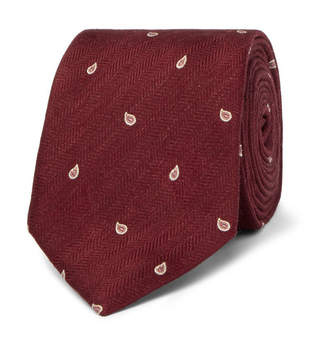Dunhill 7cm Paisley-Embroidered Herringbone Linen and Mulberry Silk-Blend Tie - Men - Burgundy