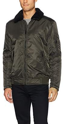 Kenneth Cole New York Men's Aviator Jacket with Removable Faux Sherpa Collar