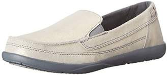 Crocs Women's Walu Shimmer Leather Loafer W Boat Shoe