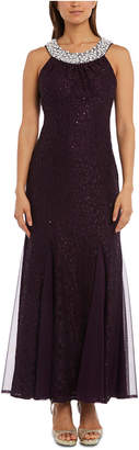 R & M Richards Nightway Petite Embellished Glitter Lace Gown