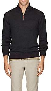 Inis Meain Men's Mélange Alpaca-Silk Quarter-Zip Sweater - Dark Gray