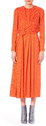 Carolina Herrera Long-Sleeve Burnout Knot-Detail Midi Cocktail Dress
