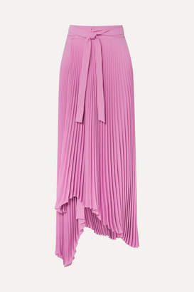 A.W.A.K.E. Mode Doric Pleated Asymmetric Crepe Wrap Skirt - Pink
