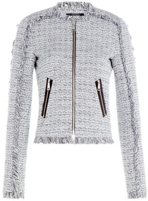 Karl Lagerfeld Cotton Blend Fringe Knit Blazer