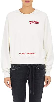 Off-White c/o Virgil Abloh Women's Rose-Print Cotton Crop Sweatshirt $525 thestylecure.com