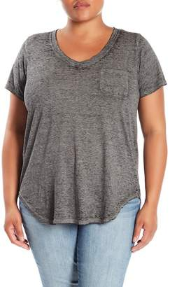 Planet Gold Burnout Pocket Tee (Plus Size)
