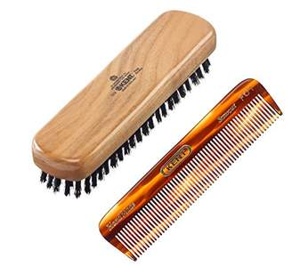 Kent Travel Clothing Brush Cherrywood Black Bristle + FOT Hair Comb