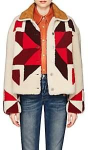 Isabel Marant Women's Adil Reversible Geometric-Pattern Shearling Coat - White