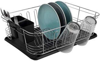 HOME BASICS Home Basics 3 Piece Chrome Plated Steel and Plastic Dish Rack