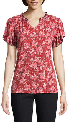 ST. JOHN'S BAY Short Sleeve Split Crew Neck Slubbed Ruffled Blouse
