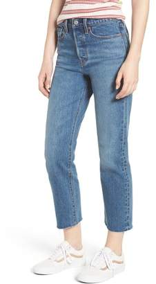 Levi's Wedgie Raw Hem High Waist Straight Leg Jeans