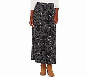 Denim & Co. Printed Knit Pull-On Skirt