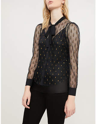 Claudie Pierlot Pussy bow embroidered mesh and crepe shirt