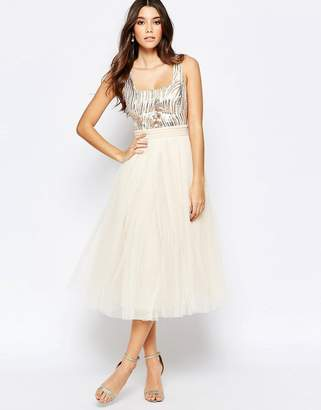 Little Mistress Sequin Midi Dress With Tulle Skirt $110 thestylecure.com