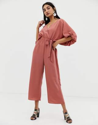 Asos DESIGN Kimono jumpsuit with wrap and culotte leg
