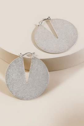francesca's Eliza V-Top Circle Hoop Earrings - Silver