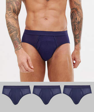 Design DESIGN briefs in navy mesh fabric 3 pack multipack saving