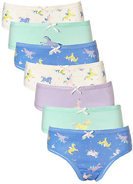 John Lewis Girls' Unicorn Print Briefs, Pack of 7, Blue