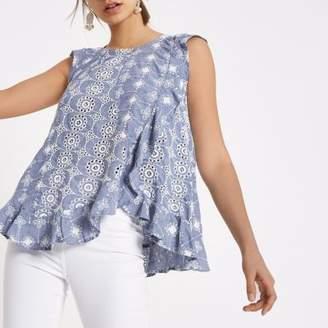 River Island Womens Light blue broderie frill sleeveless top