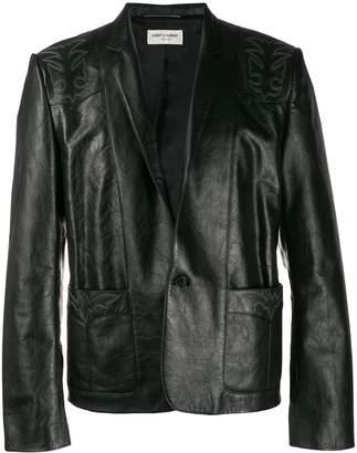 Saint Laurent single button calf leather jacket