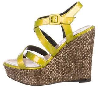 Barbara Bui Patent Leather Wedge Sandals