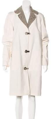 Michael Kors Virgin Wool-Trimmed Knee-Length Coat