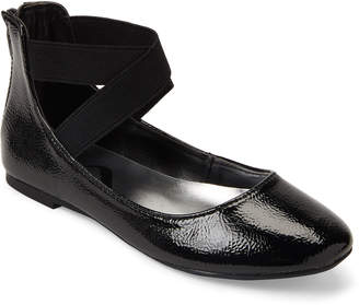 Nina Kids Girls) Black Teena Elastic Strap Ballet Flats