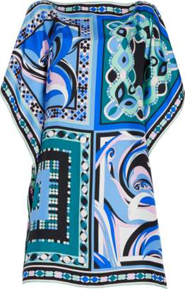 Emilio Pucci Pop Flower Printed Silk Kaftan Dress