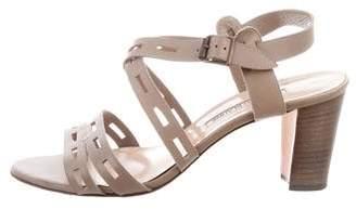 Manolo Blahnik Leather Laser Cut Sandals