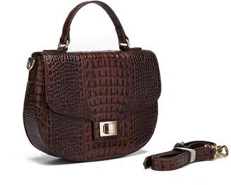 Vicenzo Leather Lyana Croc Embossed Leather Crossbody Handbag