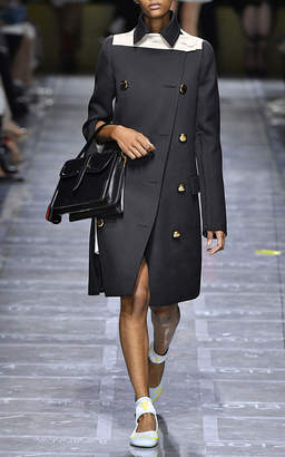 Prada Double-Breasted Wool Coat With Contrast Panel