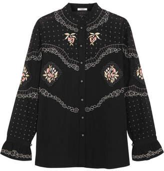 Vilshenko Calina Embroidered Cotton Blouse - Black