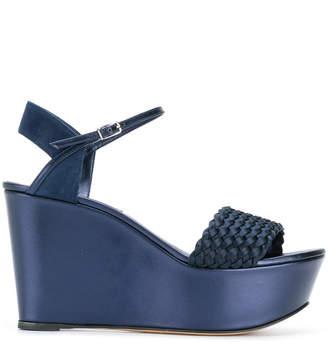 Casadei Woman Knotted Suede Platform Sandals Bright Blue Size 41 Casadei SJGhvCt5F