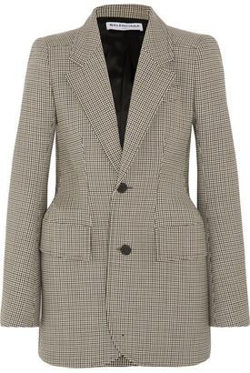 Balenciaga - Hourglass Checked Wool-blend Blazer - Brown