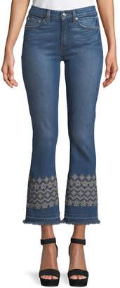 Derek Lam 10 Crosby Jane Mid-Rise Flip-Flop Flare Jeans w/ Eyelet Embroidery