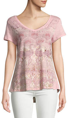 Style&Co. STYLE & CO. Graphic V-Neck Top