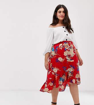 d96648df05 AX Paris Plus floral dip hem skirt