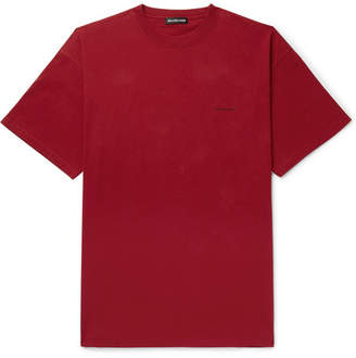 Balenciaga Oversized Logo-Print Cotton-Jersey T-Shirt - Men - Burgundy