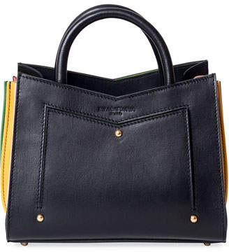 Sara Battaglia Toy Leather Tote Bag w/ Contrast Gussets