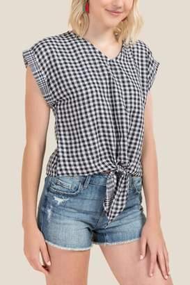 Gigi Gingham Tie Front Top - Black/White